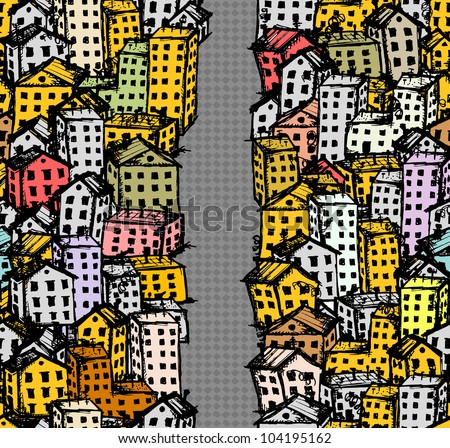 City street sketch, seamless background for your design - stock vector