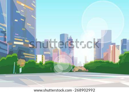 City Street Skyscraper View Cityscape Vector Illustration - stock vector