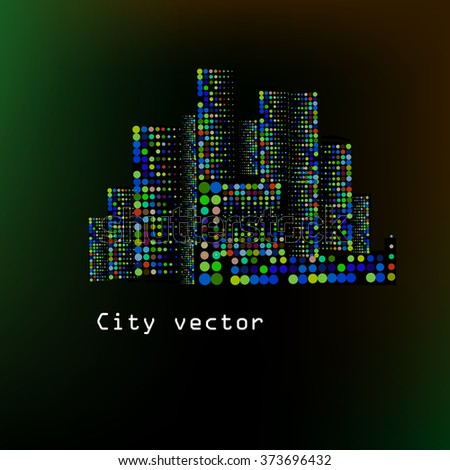 City stylized circles. vector varicolored city silhouette - stock vector