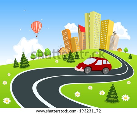 City surrounded by nature landscape with car - stock vector