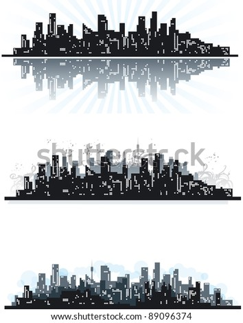 City. Three vector abstract town silhouettes of skyscrapers on grunge background.