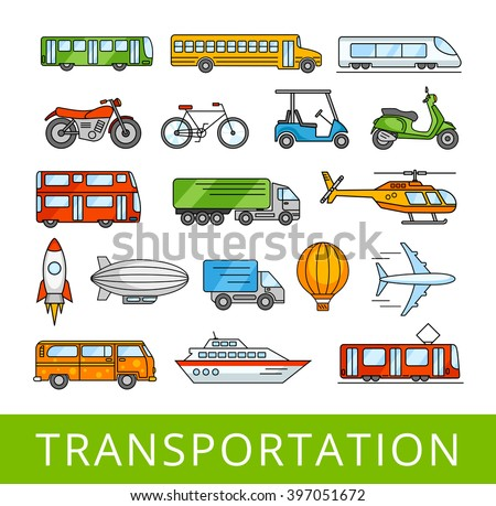 City transport collection. Transportation, cars and various vehicles. A set of vector color illustrations. - stock vector