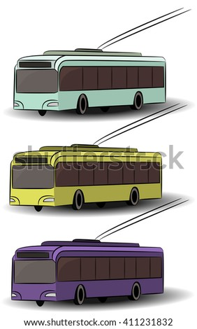 City transport icons. Side view bus, tram, trolleybus. Vector passenger vehicle. Urban electrical machines. Street traffic. Isolated objects. Transportation logotype elements.  - stock vector