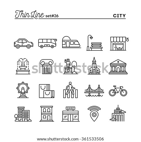 City, transportation, culture, shopping and more, thin line icons set, vector illustration - stock vector