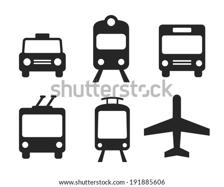 City transportation pictograms: taxi cab, train, bus, tram, trolleybus and plane. Set of monochrome vector icons. - stock vector
