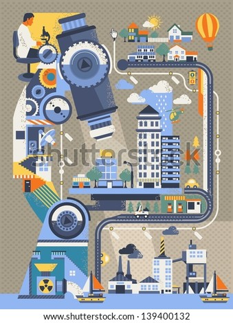 city under microscope Background. vector elements - stock vector