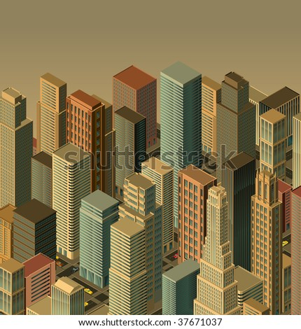 city-vector- isometric perspective - stock vector