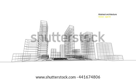 city view, architecture abstract, 3d illustration vector - stock vector