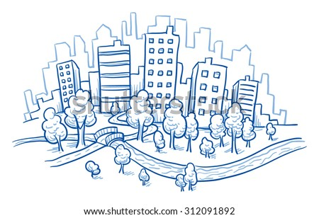 City view with office buildings, river and park, hand drawn doodle vector illustration - stock vector