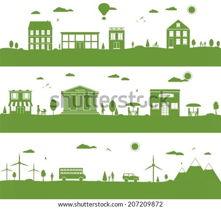 City with cartoon houses, green eco panorama. - stock vector