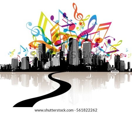City With Colorful Music Tunes