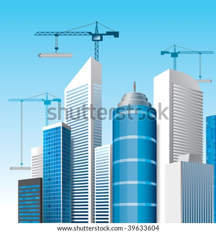city with skyscrapers - stock vector