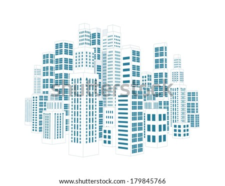 City with three-dimensional buildings and skyscrapers. Vector illustration on white background - stock vector