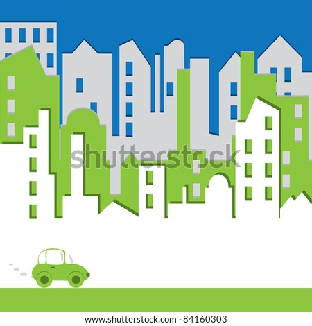 Cityscape. Abstract building with car. Environtment concept. Vector illustration. - stock vector