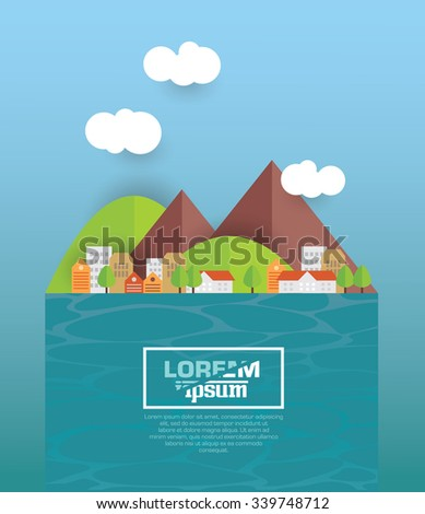 Cityscape. Architecture of a small town by the river. Flat style vector illustration. - stock vector