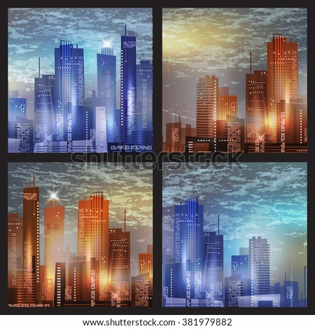 Cityscape at night - stock vector