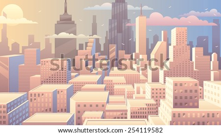 Cityscape at sunrise. Basic (linear) gradients used. No transparency.  - stock vector