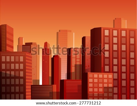 Cityscape at sunset vector illustration background - stock vector