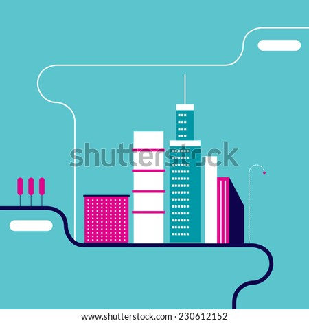 Cityscape background. City building silhouettes. Modern flat design style. Vector illustration - stock vector