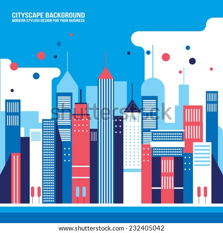Cityscape background Downtown with skyscrapers Modern flat design style - stock vector