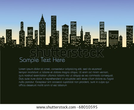 Cityscape Background, silhouette - stock vector