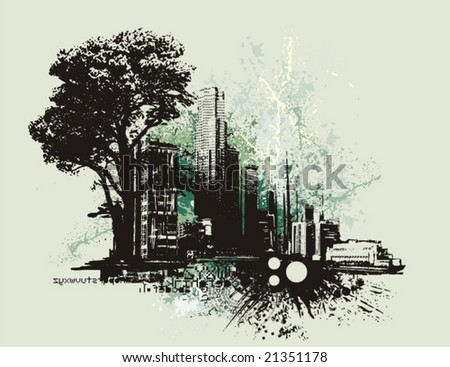 Cityscape background with grunge elements, vector illustration. - stock vector