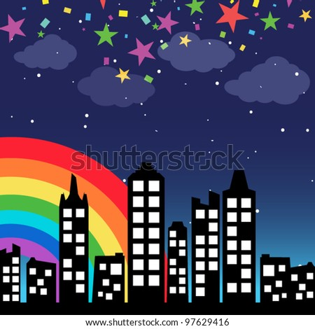 Cityscape background with rainbow - stock vector