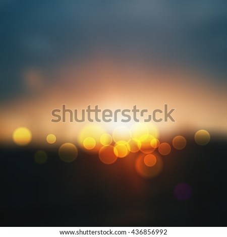 cityscape blurred. desert in sunset with de focused lights,abstract bright blur background. Abstract background Vector illustration - stock vector