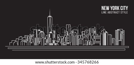 Cityscape Building Line art Vector Illustration design - new york city - stock vector