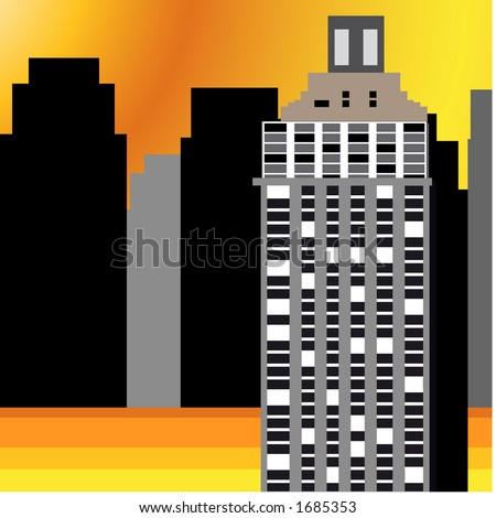 cityscape building with detail - stock vector