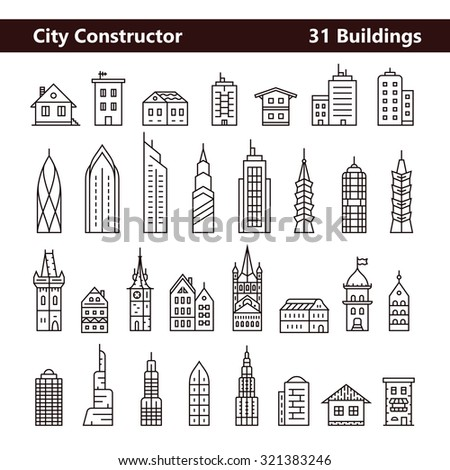 Cityscape constructor and City builder. Urban city and old town skyline and buildings. Collection of building icons made in liner style
