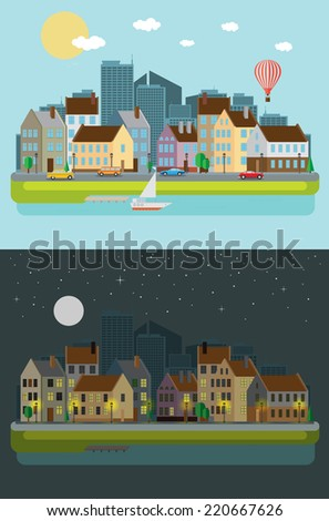 Cityscape, day and night - stock vector