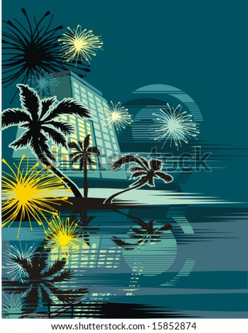 Cityscape in the tropical night, vector illustration series. - stock vector