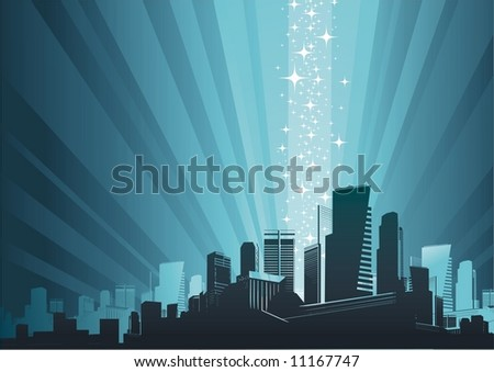 Cityscape & magic phenomenon - stock vector