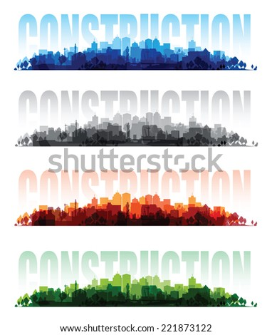cityscape overprint background set - stock vector