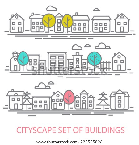 cityscape set of buldings. city landscape line vector illustration - stock vector