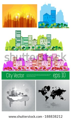 Cityscape set, vector - stock vector