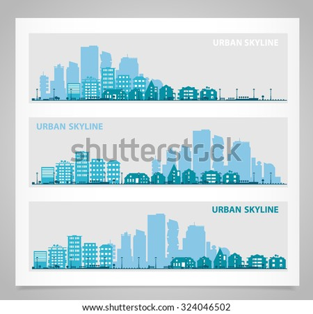 Cityscape sets with various parts of a city: small towns or suburbs and downtown silhouettes. Illustration divided on layers for create parallax effect