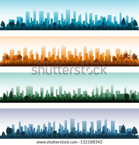 Cityscape silhouette city panoramas - stock vector