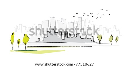 cityscape, simple symbolic drawing, vector - stock vector