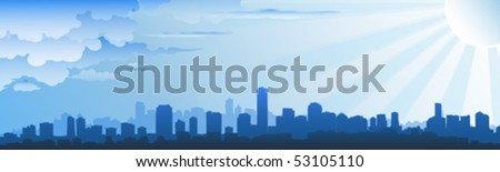 cityscape skyline on cloudy day - stock vector