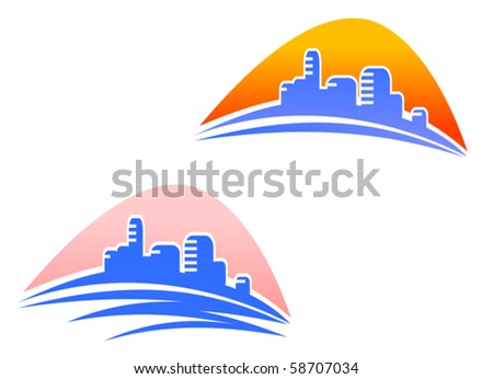 Cityscape symbols - also as emblem or logo template. Jpeg version also available - stock vector