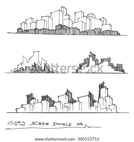 Cityscape Vector Illustration Line Sketched Up - stock vector