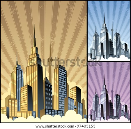 Cityscape Vertical: Cartoon city in 3 color variations. Basic (linear) gradients used. No transparency. A4 proportions. - stock vector