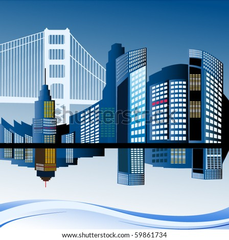 Cityscape with bridge - stock vector