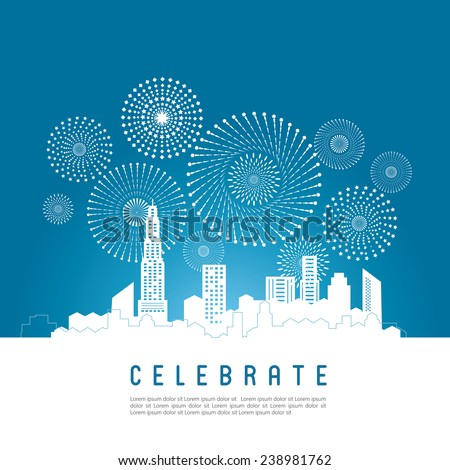 Cityscape with celebration fireworks background. Vector illustration