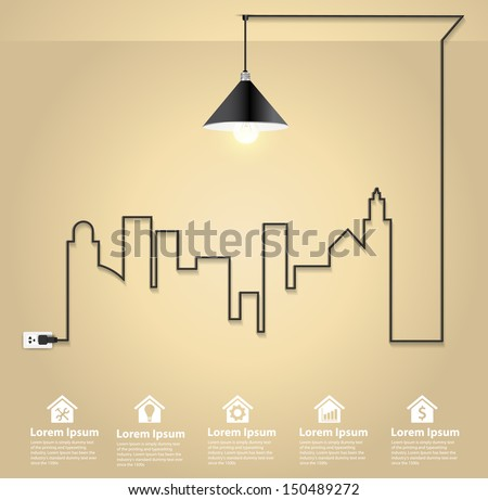 Cityscape with creative wire light bulb idea concept, Abstract modern design template workflow layout, diagram, step up options, Vector illustration template design - stock vector