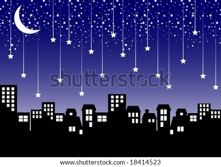 Cityscape with Falling Stars (Vector) - stock vector
