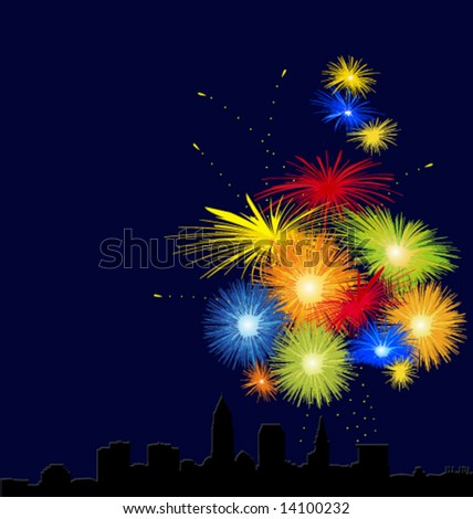Cityscape with fireworks. - stock vector