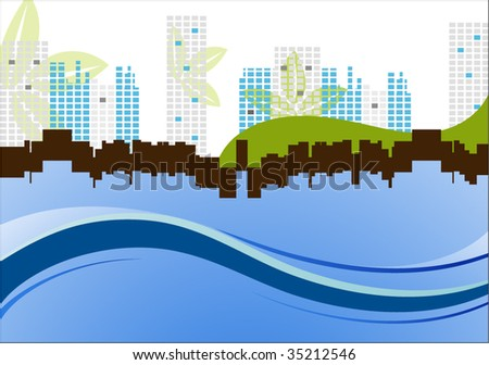cityscape with leaves and waves - stock vector